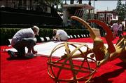 Preparations for the 58th Annual Primetime Emmy Awards continue Saturday outside the Shrine Auditorium in Los Angeles.
