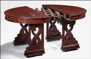 In 1849, T.P. Sherborne of Philadelphia patented this round accordion-action extension table that became a larger, oval-top table. It sold at Samuel T. Freeman & Co., an auction gallery in Philadelphia, for $1,793.