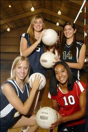 The high school volleyball season gets under way tonight, and these four standouts - clockwise from lower left, Veritas' Adrienne Willems, Seabury's Molly Thurman, Free State's Kelsey Harrison and Lawrence High's Sydnei Tolefree - could factor mightily in their teams' fortunes.