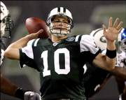 New York Jets quarterback Chad Pennington passes the ball during an exhibition game against the New York Giants. Jets coach Eric Mangini announced Tuesday that Pennington would open the 