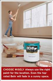 When choosing paint for an indoor project, experts at Consumer Reports recommend using a product that can cover in a single coat. The Behr Premium Plus Satin Enamel, at left, qualifies as a CR Best Buy for one-coat coverage, as did Kilz - the low-luster Casual Colors Satin, and the flat-finish Casual Colors, especially when used in darker colors.