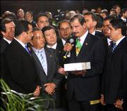 "Unable to enter the main Congress hall, president Vicente Fox dropped off a copy of his speech and then decided to leave the assembly. Later Friday he delivered a nationally televised address and said the protesting lawmakers&squot; actions were ""contrary to democratic practices."""