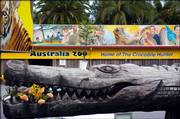 A wooden crocodile holds flowers from well-wishers outside Australia Zoo at Beerwah, home of international media personality and environmentalist Steve Irwin, who died Monday on the Great Barrier Reef in far north Queensland, Australia. Irwin, known as The Crocodile Hunter, was killed by a stingray barb to his heart while fiming a new television series.