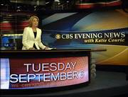 "Katie Couric, anchor and managing editor of the ""CBS Evening News with Katie Couric,"" makes her debut broadcast on the CBS Television Network. Couric on Tuesday replaced Bob Schieffer, who anchored the broadcast for 18 months following the departure of Dan Rather."