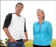 """Jericho"" star Skeet Ulrich and Gov. Kathleen Sebelius chat at Stan Herd&squot;s ""Jericho"" crop art unveiling. The earthwork promoting a new CBS series was unveiled Saturday at Bismarck Gardens, 1616 N. 1700 Road, where Gov. Sebelius also issued a proclamation renaming North Lawrence as Jericho for a week."