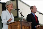 Kansas Gov. Kathleen Sebelius speaks during a debate with her challenger, State Sen. Jim Barnett, R-Emporia, at Farm Bureau Arena on the Kansas State Fairgrounds in Hutchinson. Saturday's gubernatorial debate was the first of four planned before the Nov. 7 election.