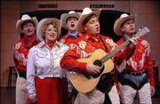 """Chaps,"" a musical to open the Lawrence Community Theatre&squot;s season, stars, from left, John Phythyon, Sarah Young, Dean Bevan, Jason Hart, and Peter Hansen. Not shown is Charles Whitman."
