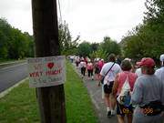 Drew Hartsock saw signs of encouragement and support during the 3-Day walk for breast cancer.