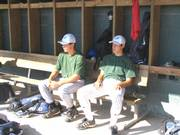 Eric Allen, left, and Jerad Hefner, right, wait for their game to begin Saturday at Holcom Park.