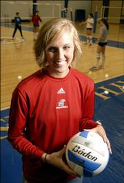 Kansas University's Emily Brown's energetic personality has helped her become a leader on the KU volleyball team.
