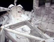The cargo bay of space shuttle Atlantis is surveyed by video cameras after an object that may have come off the craft was spotted flying outside the shuttle. The mystery object Tuesday postponed the landing of the shuttle until at least Thursday.