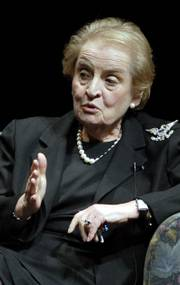Former Secretary of State Madeleine Albright speaks as part of the Dole Lecture Series Wednesday evening at the Lied Center. The two offered opposing views on U.S. involvement in the Iraq war.