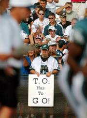 A Philadelphia Eagles fan expresses his opinion on the future of wide receiver Terrell Owens in this 2005 file photo in Bethlehem, Pa. Owens will return to Philadelphia this weekend as a member of the Dallas Cowboys.
