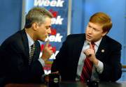"Rep. Rahm Emanuel, D-Ill., left, and Rep. Adam Putnam, R-Fla., right, appear for an interview with George Stephanopolous on ABC&squot;s ""This Week."" The scandal involving former Rep. Mark Foley, R-Fla., was a hot topic on the Sunday morning news shows."