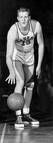 Clyde Lovellette was among the Jayhawks who tried out 12-foot goals in old Robinson Gymnasium.