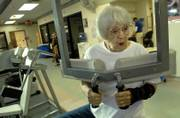 Ninety-year-old Lawrence resident Frances Fischer works out Wednesday afternoon at Lawrence Memorial Hospital's Kreider Rehabilitation Services exercise room. Fischer is part of a small group of those 90 and older called Seniors Together Enjoying Physical Success, or STEPS. Fischer says she tries to hit the gym at LMH three times a week.