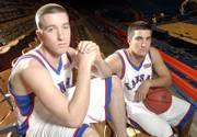 Kansas Guards Brady Morningstar, left, and Brennan Bechard both hail from Lawrence, and each is determined to give the other guy all he can handle during KU's practices.