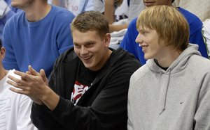 KU recruits visiting during Late Night in the Phog are Cole Aldrich, left, who has already committed to KU and prospective recruit Kyle Singler.