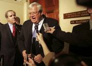 House Speaker Dennis Hastert of Illinois makes a statement on Capitol Hill after his appearance before the House Ethics Committee. Hastert urged the panel on Tuesday to wrap up its investigation quickly.