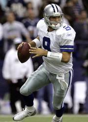 Dallas quarterback Tony Romo looks for a receiver against the New York Giants on Monday night in Irving, Texas. Romo is the new starting quarterback for the Cowboys.