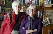 Mary Lou Wright, left, and Pat Kehde, co-owners of The Raven Bookstore, 6 E. Seventh St., won a 2006 Phoenix Award for literary arts.