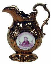"""This fancy 9-1/2-inch copper-luster pitcher has a picture of presidential candidate William Henry Harrison on the side. The pitcher reads """"Reform."""" A better-known slogan from the winning campaign is """"Tippecanoe and Tyler, too."""""""