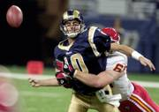 Kansas City's Jared Allen sacks St. Louis quarterback Marc Bulger and forces a fumble. The Chiefs scored 17 first-half points off turnovers in their 31-17 victory against the Rams on Sunday in St. Louis.