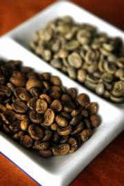Shown above are caffeinated Costa Rican beans, left, and the same bean that has not been decaffeinated, right.