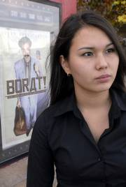 "Zhanar Bekturganova, a Kansas University student from Kazakhstan, is upset by the depiction of her country in the comedy ""Borat."" The film opened in Lawrence last Friday."