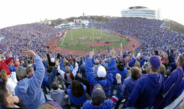 A Memorial Stadium record of 51,821 fans attended the Kansas-Kansas State football game on Saturday in Lawrence.