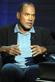 O.J. Simpson is shown during an exclusive interview with publisher Judith Regan (not pictured) about how the murders of Nicole Brown Simpson and Ron Goldman would have taken place had he actually committed the crimes. Simpson said Wednesday that he agreed to a book and television interview because he needed the money.