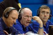 Bob Davis, center, calls the action during Kansas University's basketball game with Washburn. He's flanked by Chris Piper, left, and producer-engineer Bob Newton.