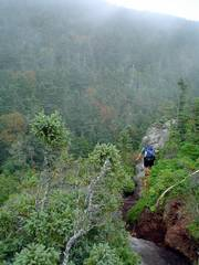 In this photo provided by the Appalachian Trail Conservancy, an unidentified hiker approaches Mahoosuc Notch, near Upton, Maine, along the Appalachian Trail. Several organizations, including the Conservancy, have launched a project to begin long-term monitoring of the environmental health of the trail.
