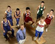 FROM LEFT, THE BOYS ALL-AREA CROSS COUNTRY TEAM includes Baldwin junior Aaron Karlin, Baldwin senior Caj Kueffer, Baldwin senior Chris Elniff, Eudora senior Joey Chino, De Soto senior Tanner McNamara, Wellsville sophomore Derek Poor and Eudora senior Cody Burns. Foreground is Baldwin coach Mike Spielman.