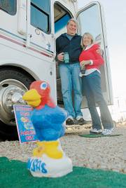 Bob and Julie Luce call themselves loyal Jayhawk fans. They live in a RV at the KOA Campgrounds in North Lawrence for most of six months so they can attend KU games.
