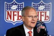 Kansas City Chiefs owner Lamar Hunt talks to the media after Kansas City, Mo., was announced as a Super Bowl site in this file photo from Nov. 15, 2005. Hunt died Wednesday night.