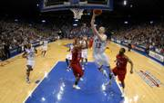 Kansas' Brady Morningstar scores two over Winston-Salem State on Tuesday at Allen Fieldhouse.