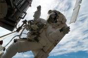 This image made available Monday by NASA shows astronaut Sunita Williams, a flight engineer, as she takes a spacewalk while construction resumes on the international space station. Williams will spend the next six months in orbit at the station.
