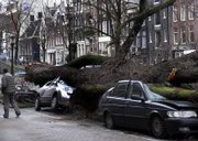 A man passes by two cars crushed by an uprooted tree during storms Thursday in Amsterdam, Netherlands. Northern Europe began cleaning up Friday after Thursday's deadly storm.