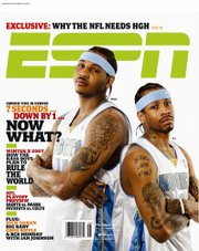 Allen Iverson, right, and Carmelo Anthony have received plenty of publicity - including the Cover of ESPN The Magazine - but they haven't played a minute together. That changes tonight.