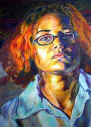Free State senior Ayo Alston-Moore received an honorable mention in the Utrecht Art Supply Portrait competition for this pastel self-portrait,