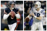 Left, Chicago Bears quarterback Rex Grossman hasn&#39;t let a handful of poor performances derail his Super Bowl run. Right, Indianapolis Colts quarterback Peyton Manning has plenty of big statistical numbers to his credit, but no Super Bowl titles.