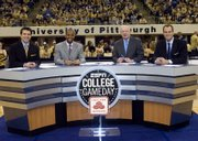 ESPN GameDay broadcasts from the University of Pittsburgh on Jan. 13. The crew, from left to right, Rece Davis, Hubert Davis, Digger Phelps and Jay Bilas, will film two hour-long shows in Allen Fieldhouse this weekend, leading up to the Kansas vs. Texas A&M game.