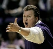 Kansas State coach Bob Huggins yells instructions to his players during their Jan. 27 victory against Nebraska in Manhattan. The Wildcats have won seven straight heading into tonight's game in Allen Fieldhouse.