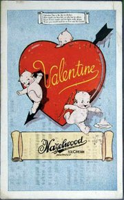The design on a valentine can help date it. This postcard pictures the Rose O'Neill Kewpies, popular in the early 20th century. It is worth about $100.