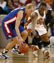 Texas' Earnesia Williams (00) tries to steal the ball from Kansas University's Kelly Kohn. The Jayhawks stunned the Longhorns, 50-49, Saturday in Austin, Texas.