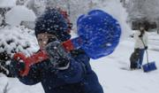 Conner Marsh, 3, tosses a shovel full of snow off a stairway as he works with his mother, Rochelle Marsh, and brother Carson, 2, pictured in background at right. Parts of the Lawrence area received up to 4 inches of snow Monday night and early Tuesday, according to Matt Elwell, 6News meteorologist.