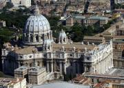 An aerial view of St. Peter's Basilica is shown in this 2004 photo. A 450-year-old receipt has provided proof that Michelangelo kept a private room in St. Peter's Basilica while working as the pope's chief architect, Vatican experts said.