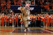 Illinois mascot Chief Illiniwek performs. The Native American mascot danced for the last time at an Illini game Wednesday in Champaign, Ill. Illinois defeated Michigan, 54-42.