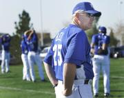 KANSAS CITY ROYALS MANAGER BUDDY BELL watches over practice in Surprise, Ariz. Bell said Wednesday he likes the chemistry of his ballclub as it embarks on the 2007 season.
